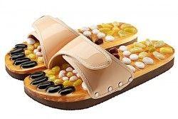 Масажни чехли за рефлексотерапия с естествени камъни - бежов цвят - размер M- размер M - № 37 - 38