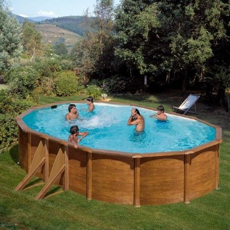 Сглобяем басейн метален овал имитация на дърво 500 x 300 h 120см.