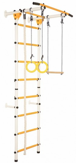 Гимнастически Комплекс за стена Лайт бял-жълт
