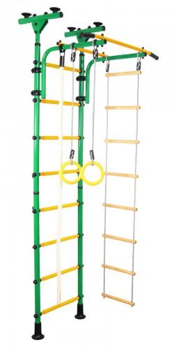 Гимнастически Комплекс за стая монтаж от пода до тавана зелен-жълт