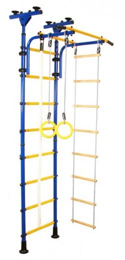 Гимнастически Комплекс за стая монтаж от пода до тавана син-жълт