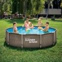 Кръгъл комплект басейни Summer Waves Activ Frame Тъмно двоен ратан с диаметър 3.05м и дълбочина 76см.