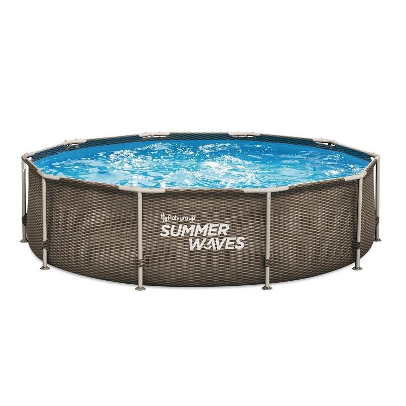 Басейн с тръбна рамка ратан Summer Waves диам 488х122см. пълен комплект