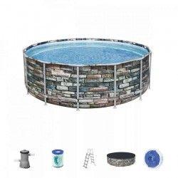 Басейн, кръгъл 427cm с имитация на камък дълбок 122см