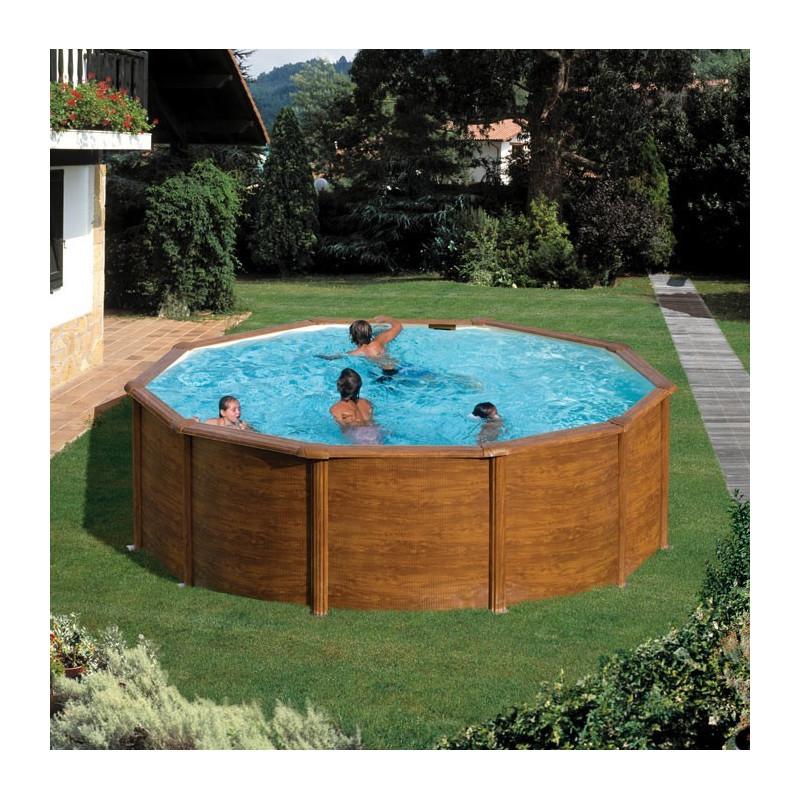 Басейн - сглобяем градински кръгъл 460см дълбочина 120 см имитация на дърво KIT460W
