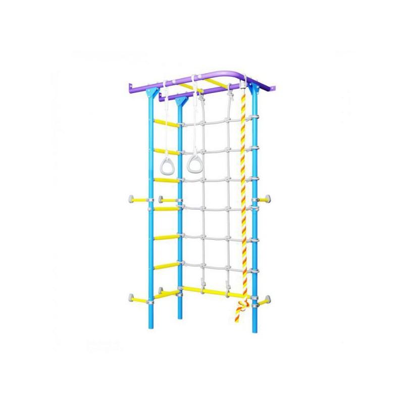 Гимнастически домашен Комплекс Шведска стена - с въжена стълба S4 ъглов монтаж