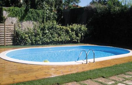 Басейн за вкопаване овална форма с размери 800 на 400 см и дълбочина 150 см.
