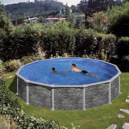 Басейн - сглобяем кръгъл 460см дълбочина 120 см имитация на камък