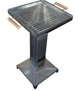 Стоящо барбекю за дървени въглища - инокс