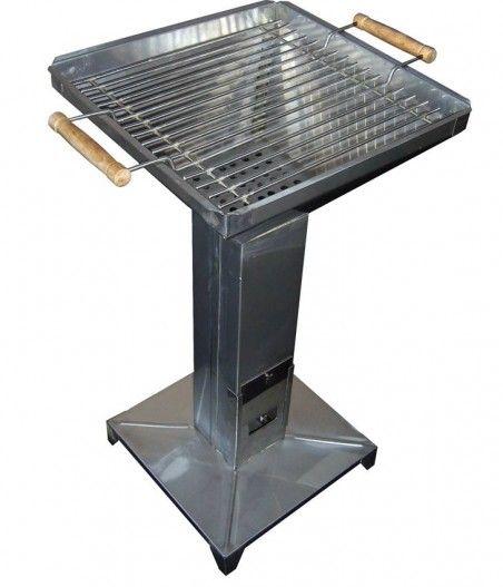 Стоящо барбекю за дървени въглища - инокс 350х350 лукс