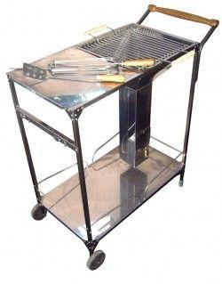 Барбекю - количка на дървени въглища от неръждаема стомана