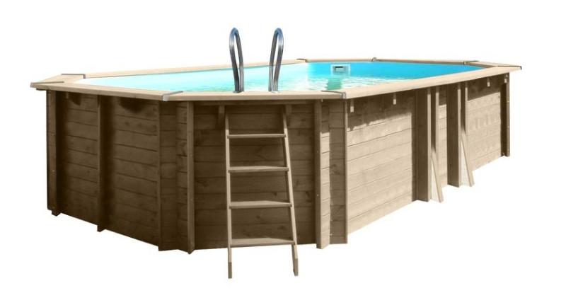 Дървен Овален басейн с външни размери 637 x 412 x 133 cm GRE 778354E