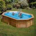 Дървен Овален басейн с външни размери 672 x 472 x 146 cm GRE 786232E