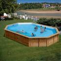 Дървен Овален басейн с външни размери 942 x 592 x 146 cm GRE 786238E