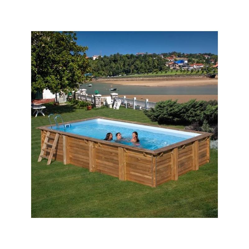 Дървен правоъгълен басейн с външни размери 800 x 400 x 146 cm GRE-Braga 788030E