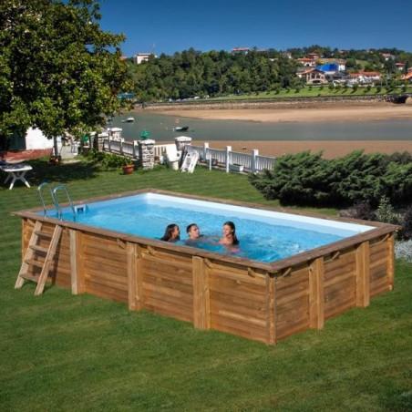 Сглобяем басейн от дърво с правоъгълна форма 800 x 400 дълбок 146 cm